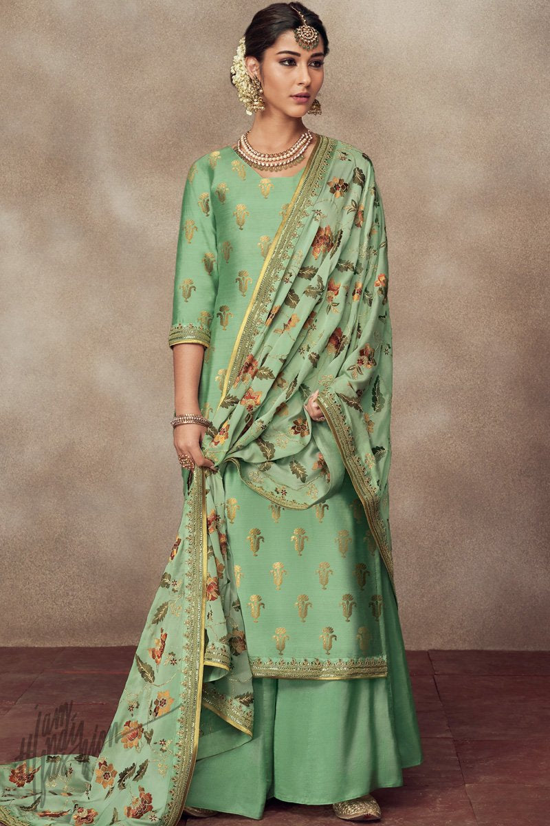Green Pure Dola Silk Palazzo Suit