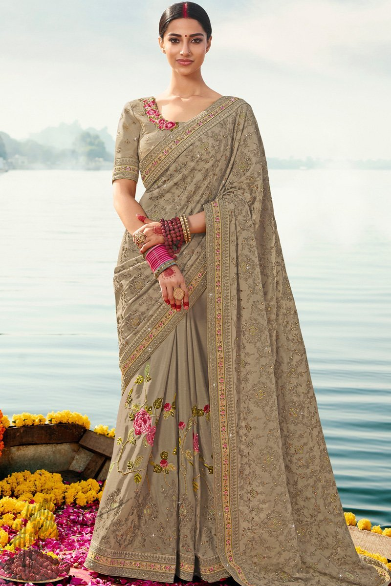 Beige Silk Wedding Saree