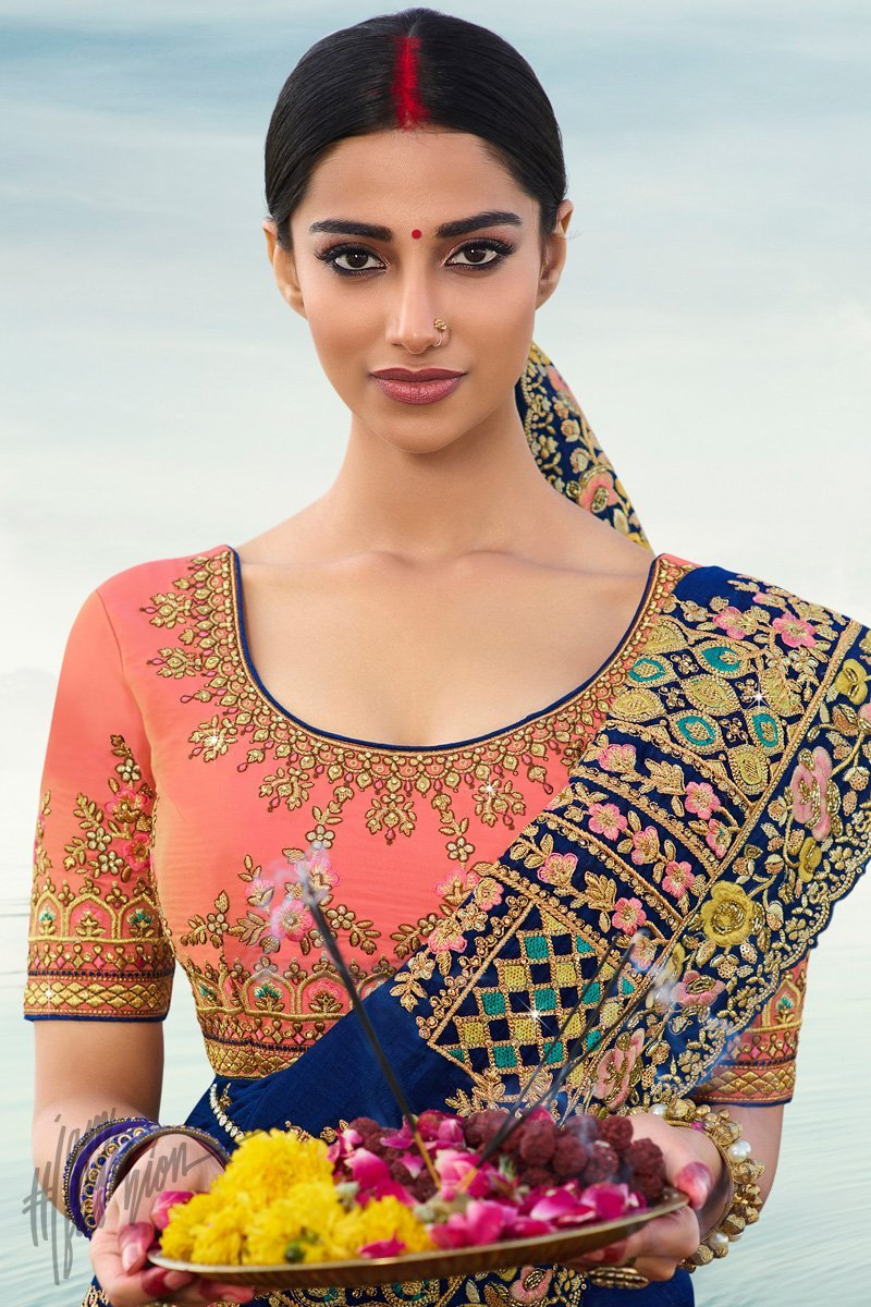 Navy Blue and Light Pink Silk Wedding Saree