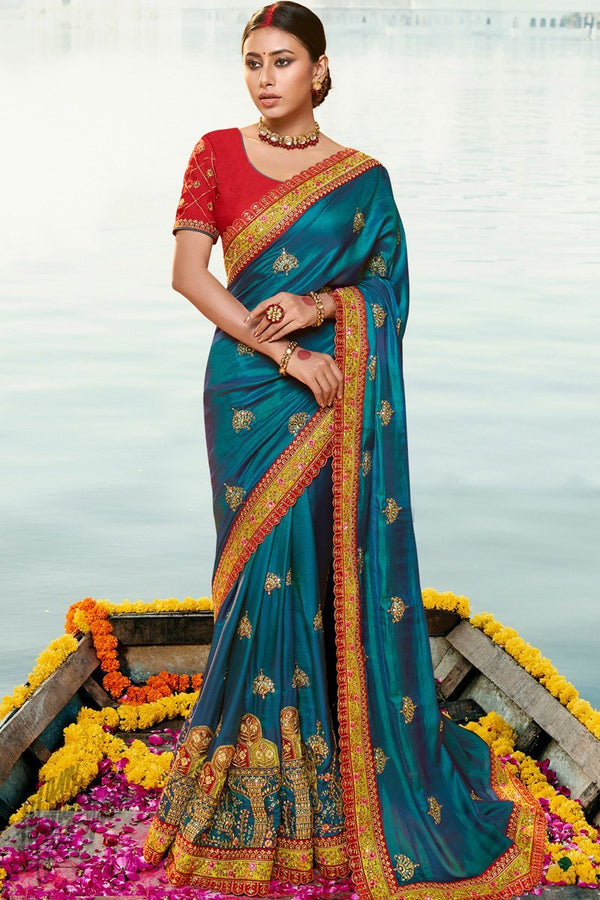 Teal Blue and Red Silk Wedding Saree