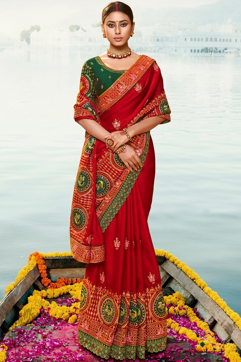 Dark Red and Dark Green Silk Wedding Saree
