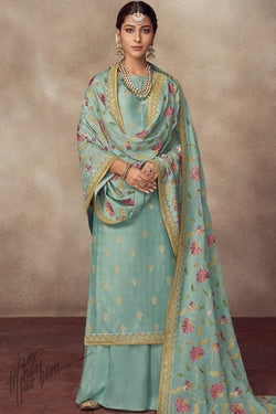 Sapphire Blue Pure Dola Silk Palazzo Suit