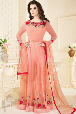 Indi Fashion Peach Georgette and Net Floor Length Party Wear Suit