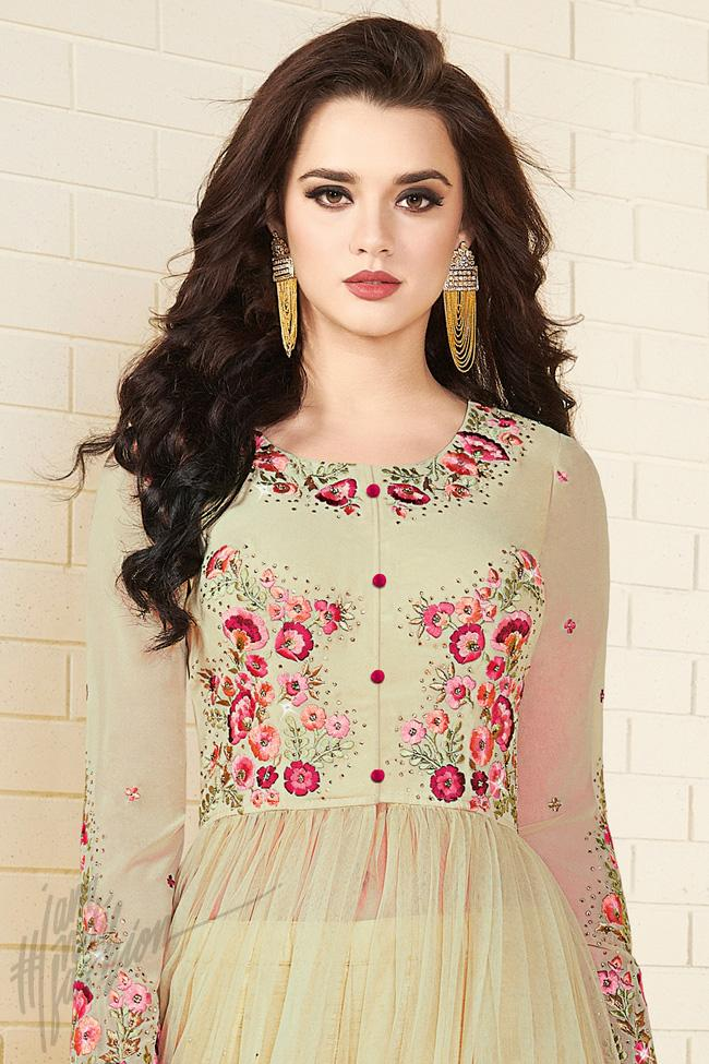 Indi Fashion Pista Green Georgette and Net Ankle Length Party Wear Suit