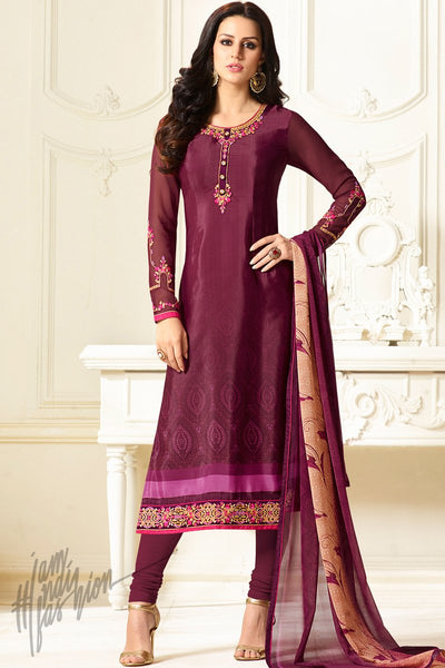 Indi Fashion Purple Crepe Casual Wear Straight Suit