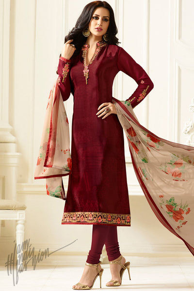 Indi Fashion Maroon Crepe Casual Wear Straight Suit