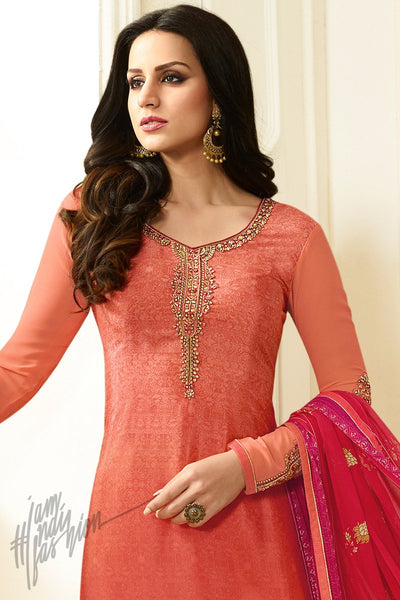 Indi Fashion Peach Crepe Casual Wear Straight Suit