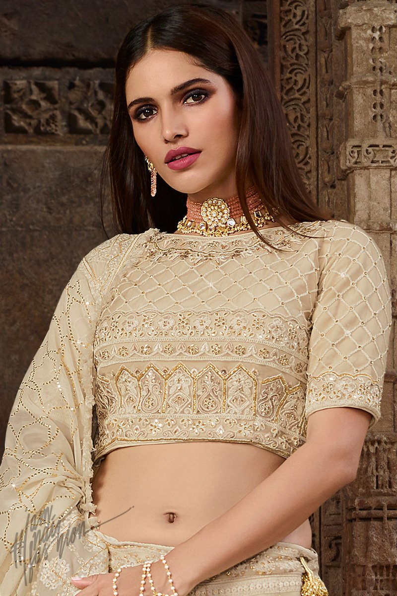 Latte White Lakhnavi Chickankari Pure Georgette Lehenga Set