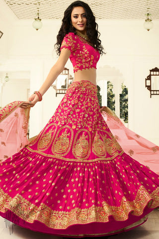 Rani and Baby Pink Satin Silk Wedding Lehenga Set