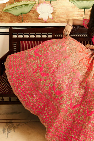 Peach and Pink Shaded Satin Silk Wedding Lehenga Set