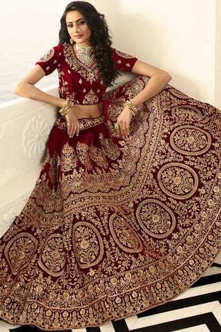 Wine and Baby Pink Velvet Wedding Lehenga Set