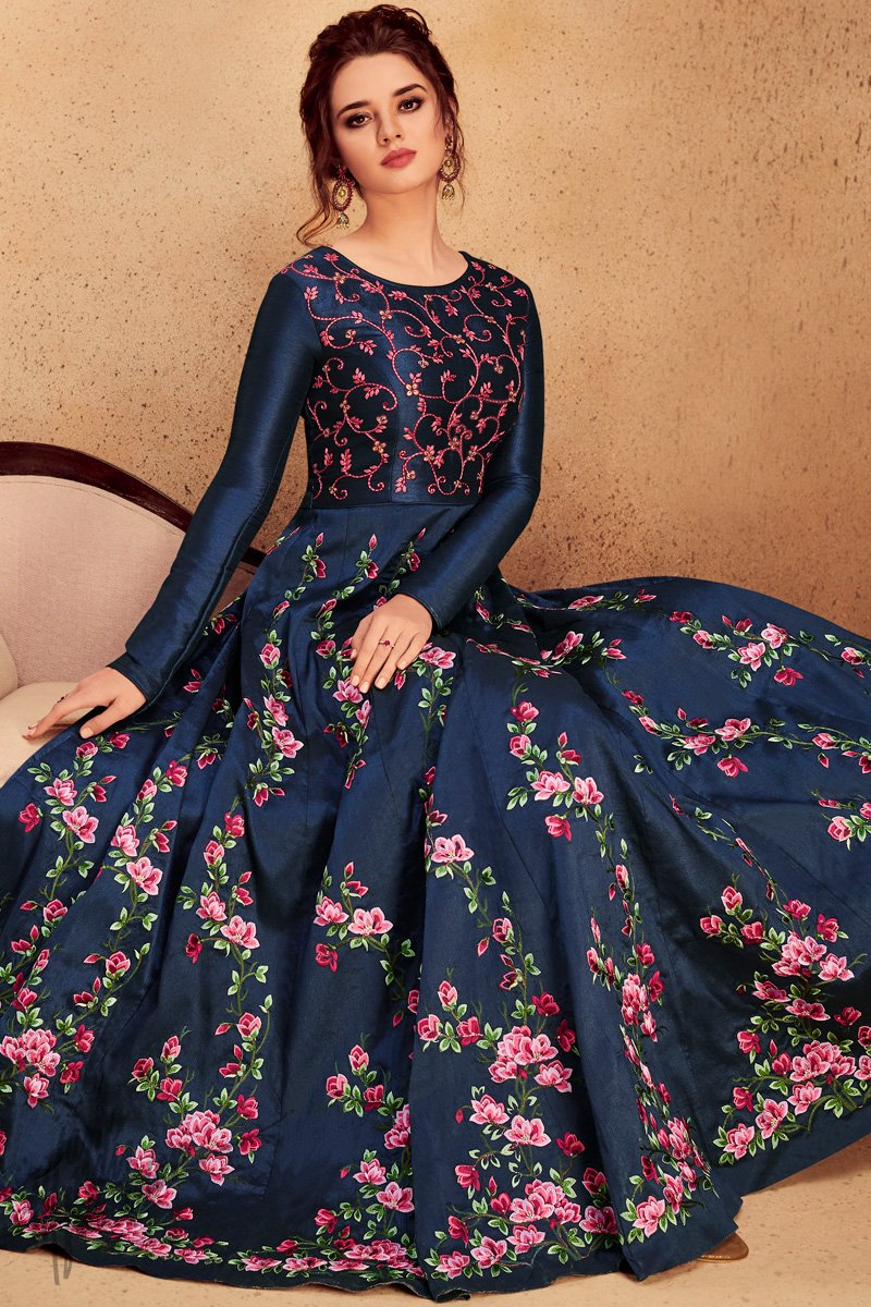 Navy Blue Silk Party Wear Anarkali Suit