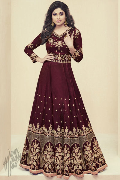 Indi Fashion Wine Melbourne Silk Party Wear Floor Length Suit