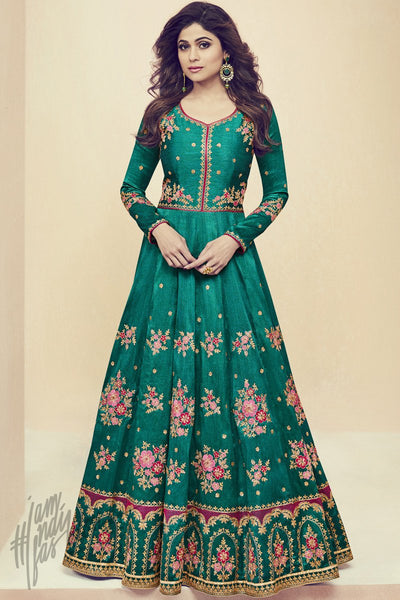 Indi Fashion Bottle Green Melbourne Silk Party Wear Floor Length Suit