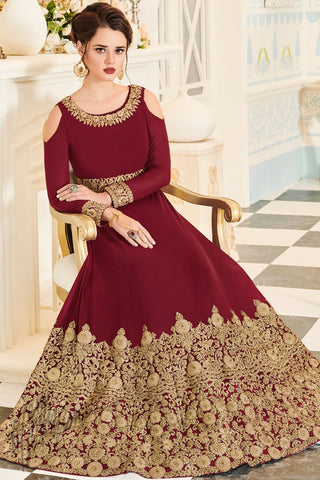 Indi Fashion Cherry Red Georgette Floor Length Party Wear Suit