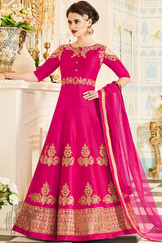 Indi Fashion Magenta Handi Silk Floor Length Party Wear Suit