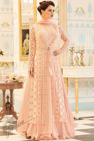 Indi Fashion Baby Pink Net and Georgette Long Jacket Style Party Wear Suit