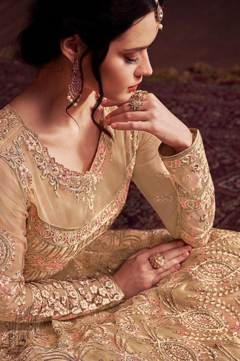 Pale Gold Net and Silk Anarkali Party Wear Suit