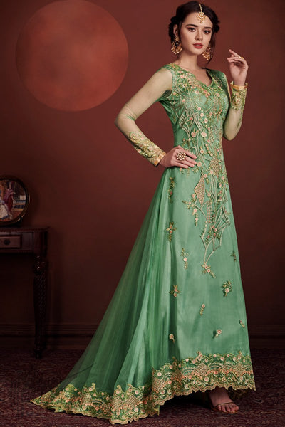 Green Net and Silk Asymmetrical Party Wear Suit