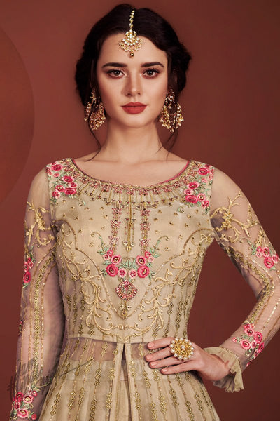 Beige Net and Silk Lehenga Style Party Wear Suit