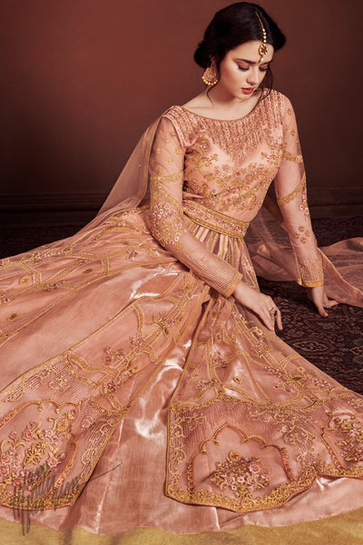 Peach Net and Silk Lehenga Style Party Wear Suit