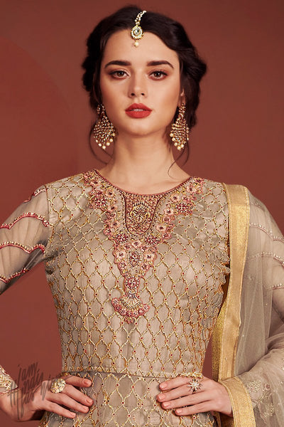 Gray Net and Silk Lehenga Style Party Wear Suit