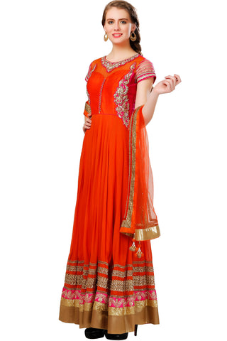 Buy Orange Anarkali Suit With Embroidery on Yoke and Golden Borders Online at indi.fashion