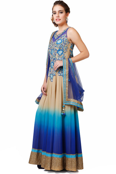 Indi Fashion Shaded Beige and Blue Anarkali With Embroidered  Yoke