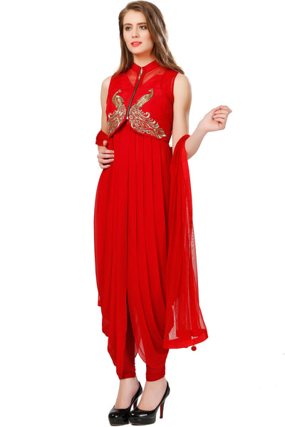 Indi Fashion Red Drape Style Suit With Peacock Embroidered Jacket
