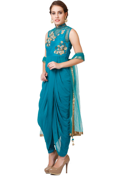 Indi Fashion Teal Drape Style Suit With Floral Embroidery
