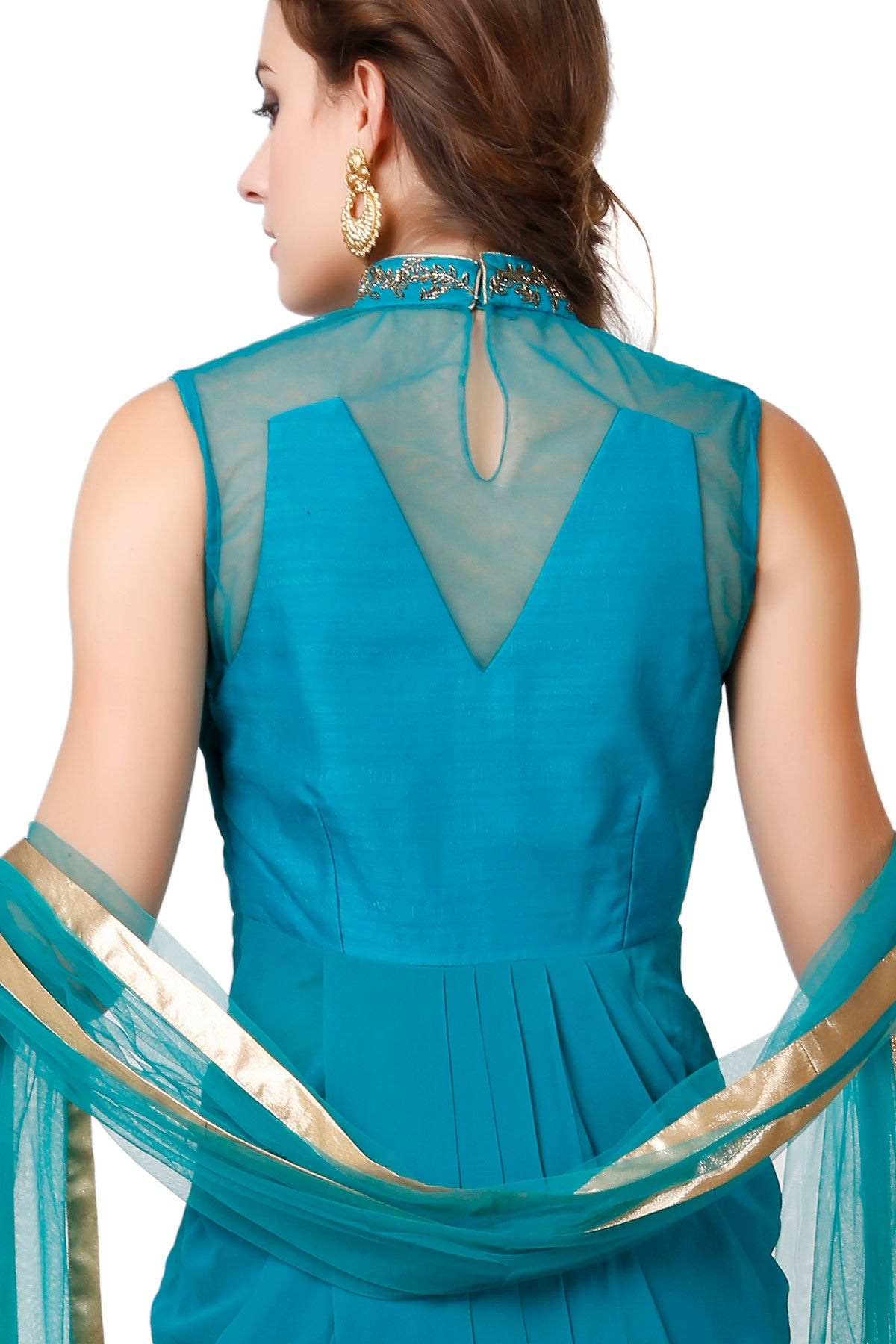 Buy Teal Drape Style Suit With Floral Embroidery Online at indi.fashion