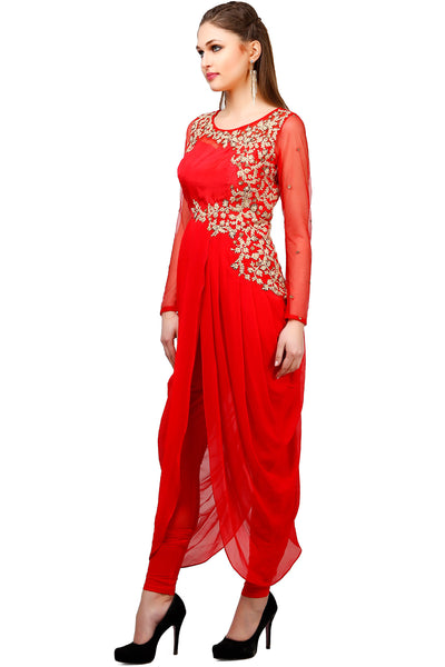 Indi Fashion Red Drape Style Embroidery With Floral Embroidery