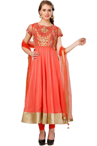 Buy Dark Peach Anarkali Suit With Embroidered Yoke Online at indi.fashion