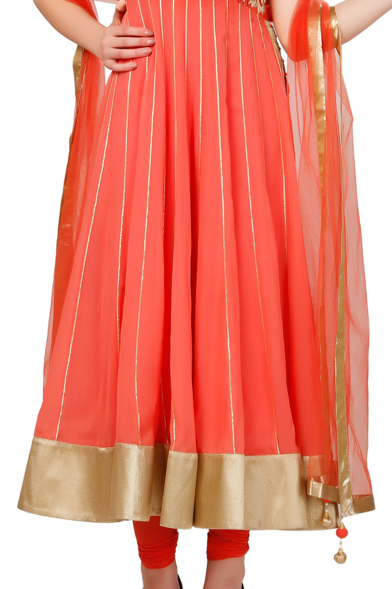 Indi Fashion Dark Peach Anarkali Suit With Embroidered Yoke