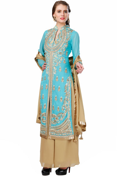Indi Fashion Light Blue & Beige Long Jacket Style Suit With Golden Embroidery