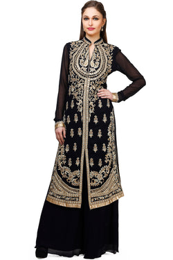 Indi Fashion Deep Blue Long Jacket Style Suit With Golden Embroidery