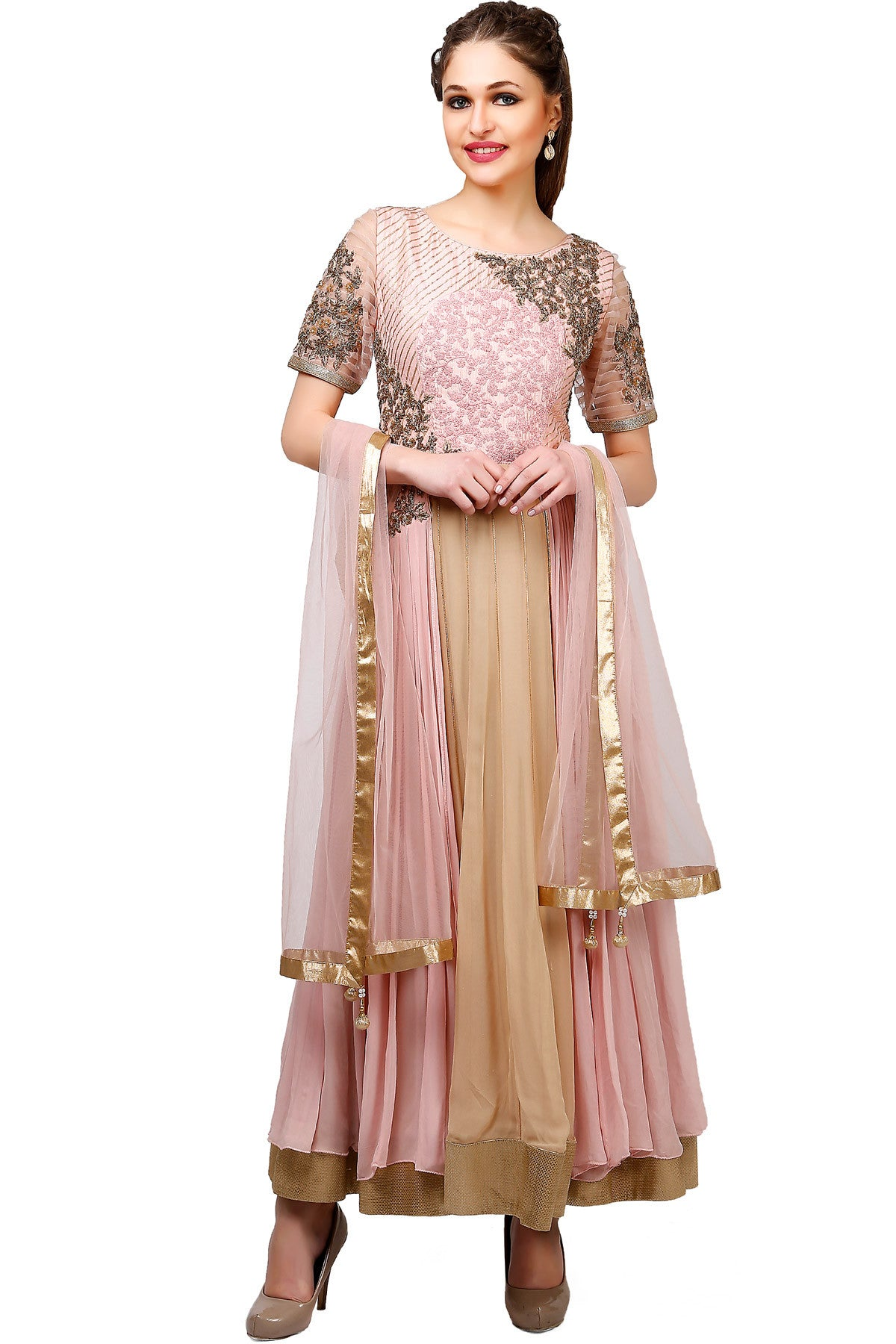 Buy Beige and Pink Anarkali Suit With Floral Embroidery Online at indi.fashion