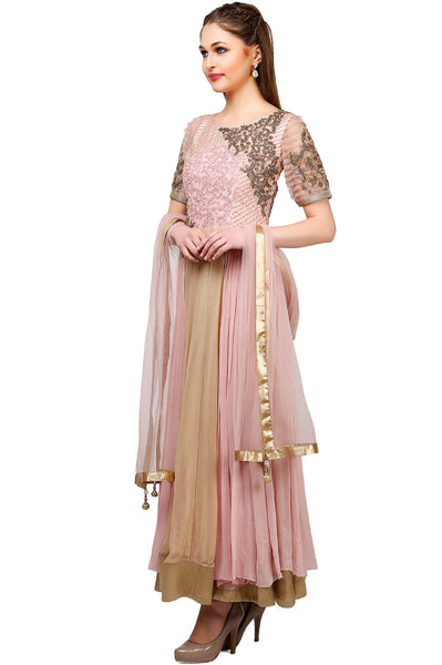 Indi Fashion Beige and Pink Anarkali Suit With Floral Embroidery