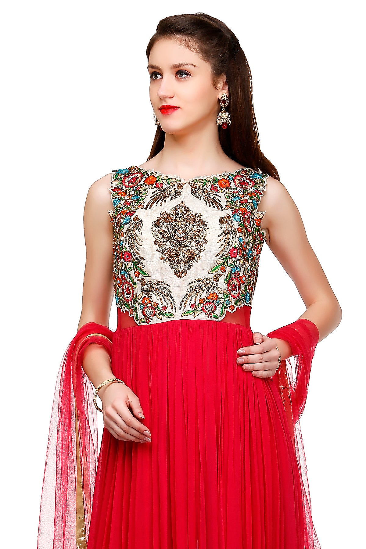Buy Red Anarkali With Zari Bird Motifs Online at indi.fashion