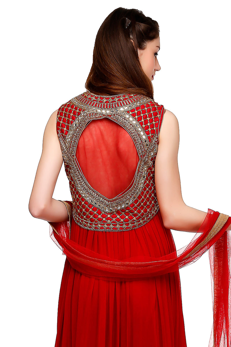 Indi Fashion Red Anarkali Suit With Embroidered Jacket