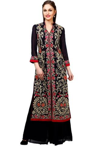 Indi Fashion Deep Blue Jacket Style Palazzo Suit With Floral Embroidery