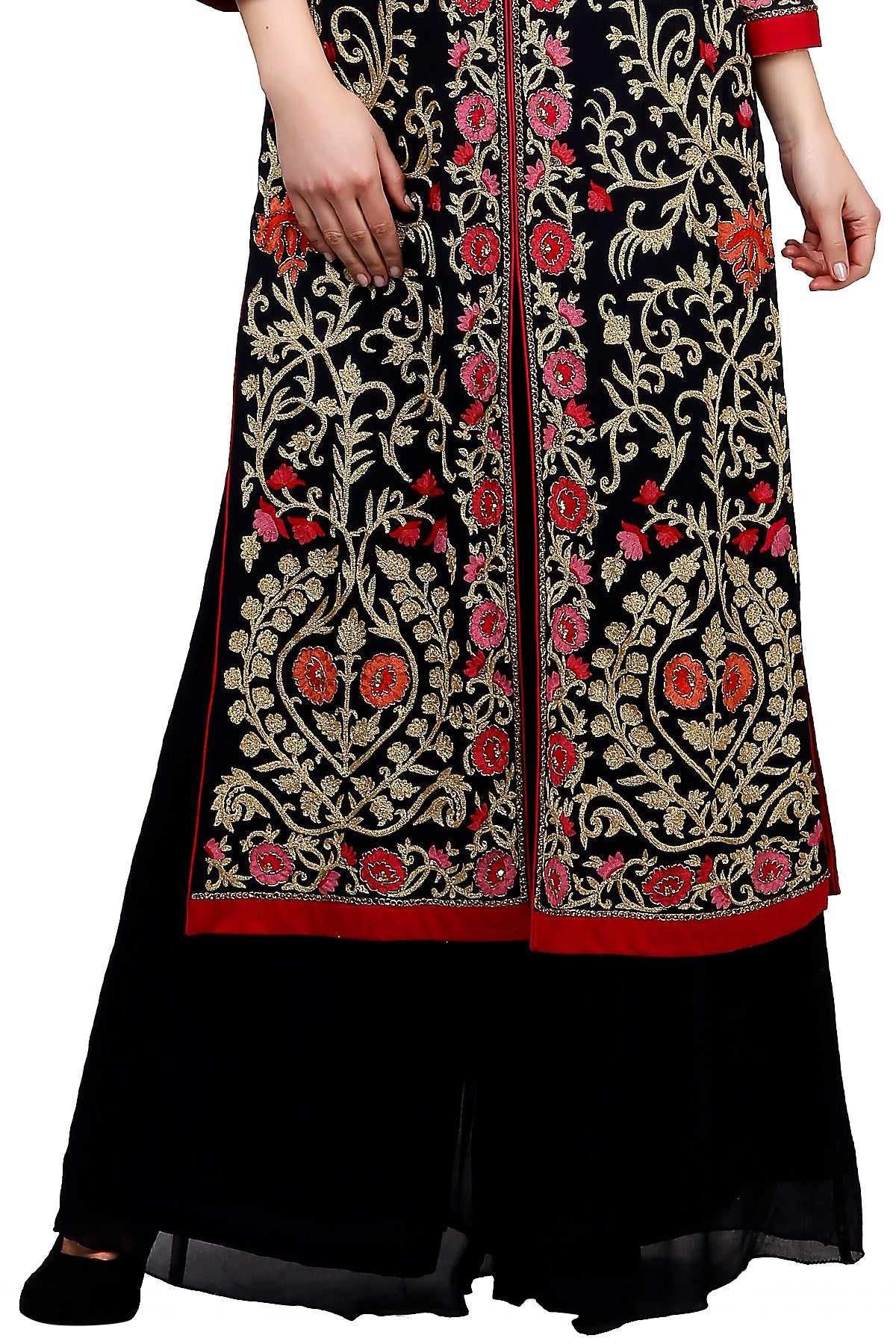 Buy Deep Blue Jacket Style Palazzo Suit With Floral Embroidery Online at indi.fashion