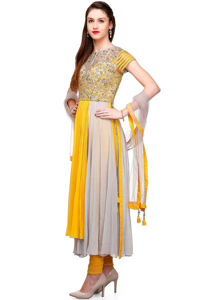 Indi Fashion Yellow and Grey Anarkali With Floral Embroidery on Yoke