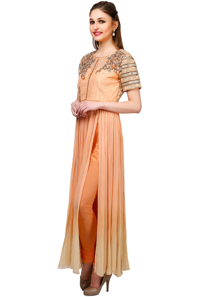Indi Fashion Peach Anarkali Suit With Corset Style Embroidered Yoke