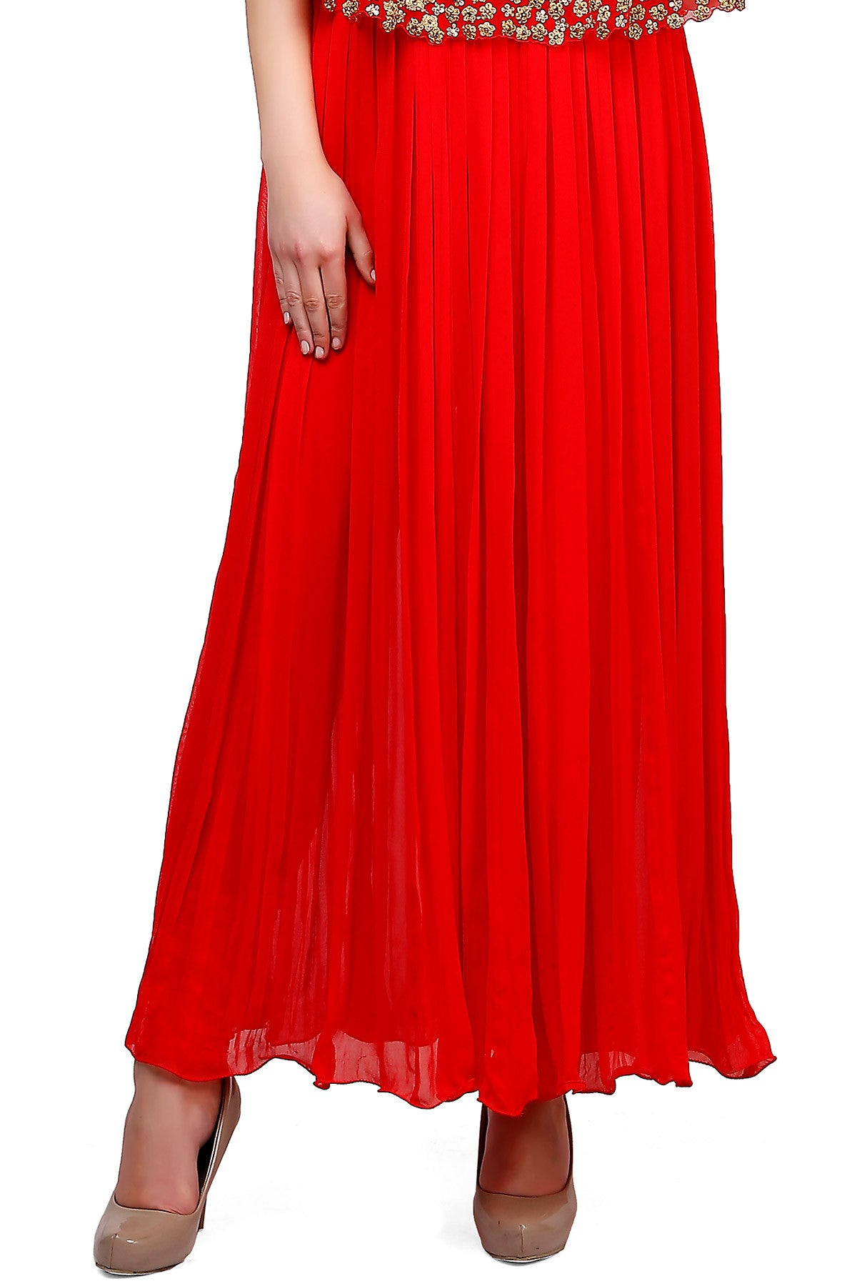 Buy Red Cape Anarkali Suit With Floral Embroidery Online at indi.fashion