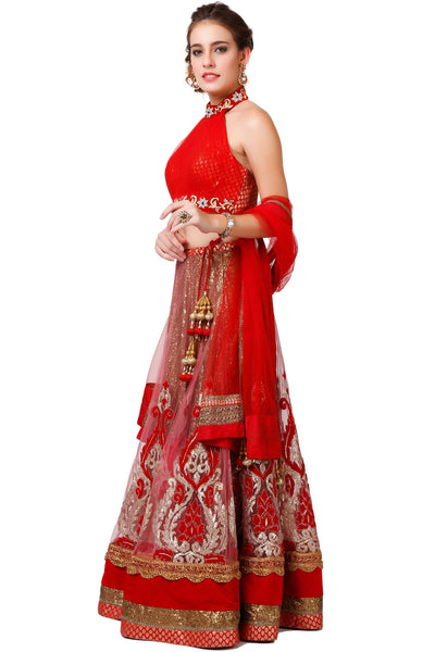 Indi Fashion Red and Golden Lehenga With Zari Embroidery