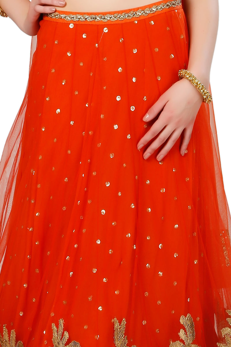 Indi Fashion Orange and Golden Lehenga Set With Zari and Goat Work