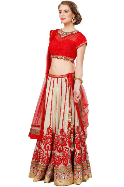 Indi Fashion Red and Beige Lehenga set With Gold and red Embroidery
