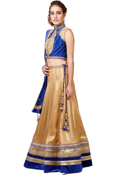 Indi Fashion Blue and Golden Lehenga set With Zari Gotta Embroidery