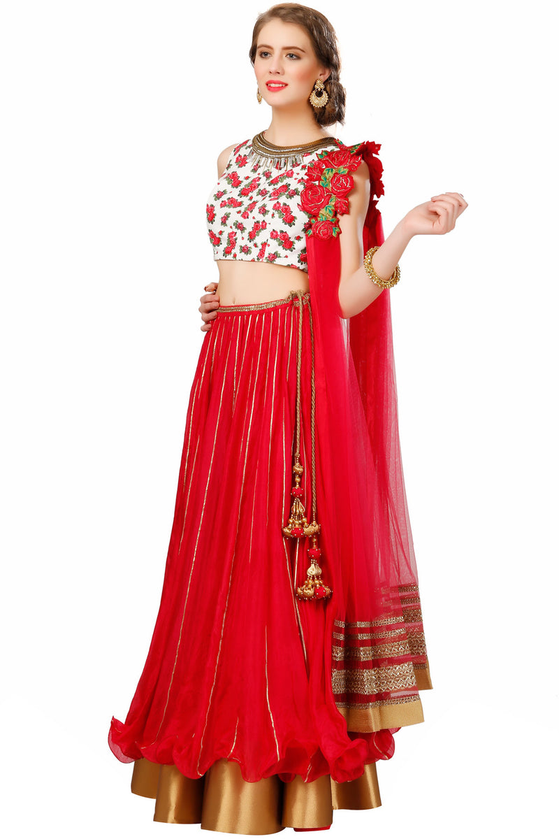 Indi Fashion Red and White Floral Printed Lehenga Set